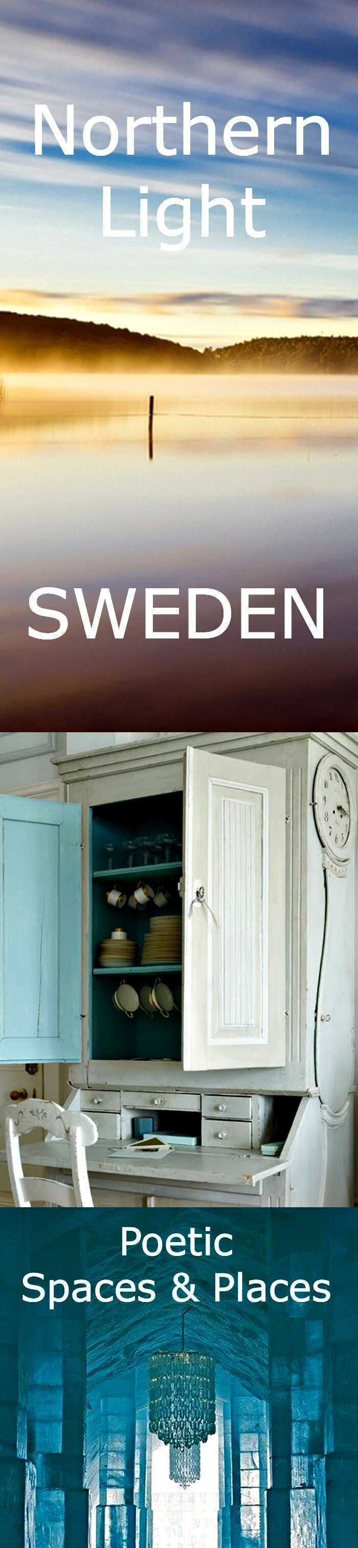 Northern Lights, Viking Mounds, Eco Lodges, Ice Castles - plus Gustavian Style Swedish Interiors that inspire stillness and solitude. Beautiful images of Sweden.
