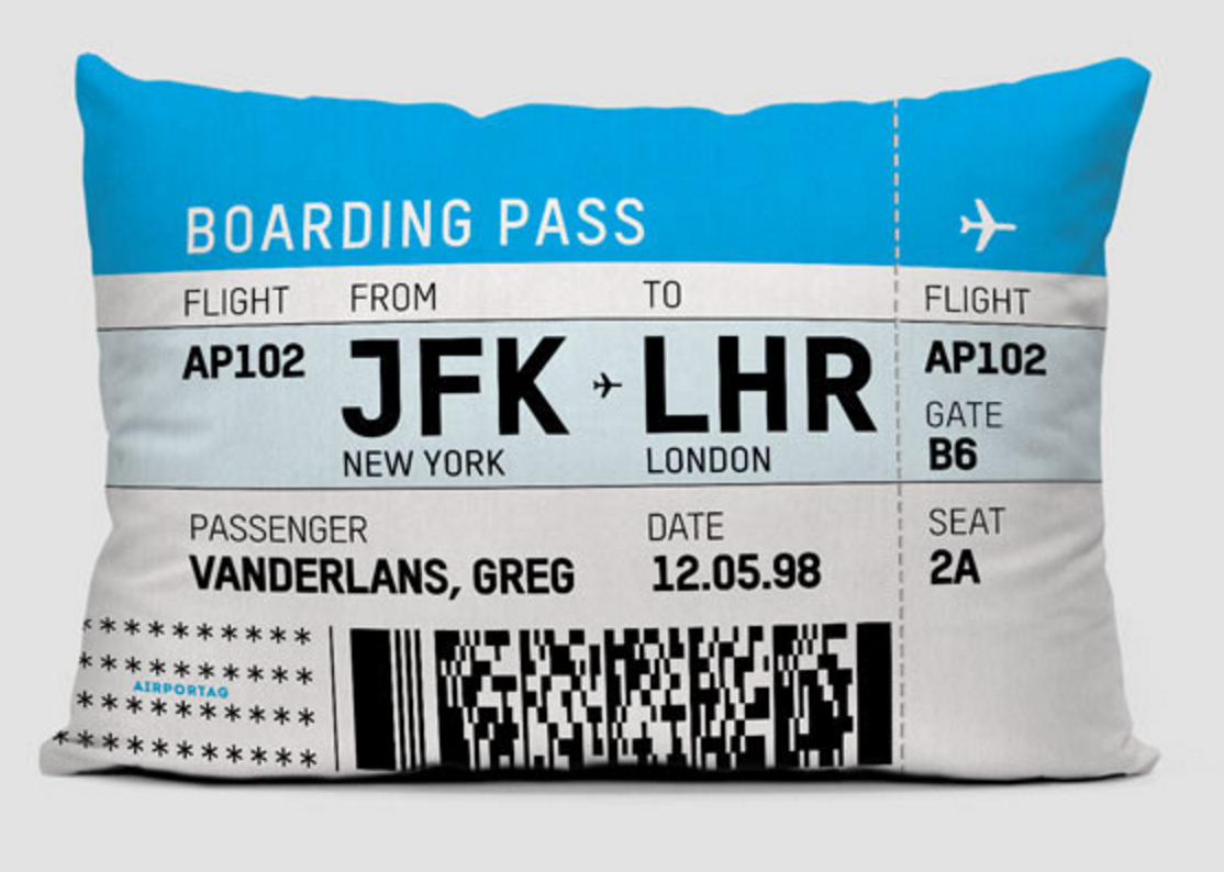 Customizable Boarding Pass Throw Pillow - Love This!