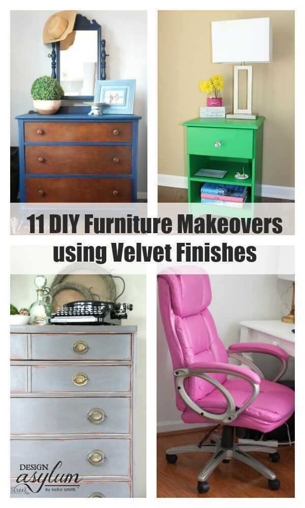 Check out these 11 DIY Furniture Makeovers using Velvet Finishes - all from talented bloggers!! #makeovermadnessbloghop #velvetfinishes #furniturepaint