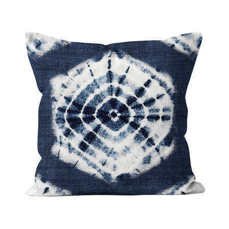 Square Indoor Throw Pillow - Shibori Indigo