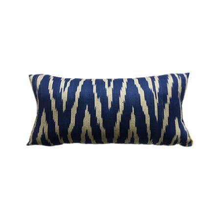 Blue and White Ikat Selvedge Pillow