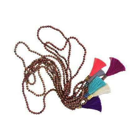 Solid Beaded Wooden Tassel Necklaces