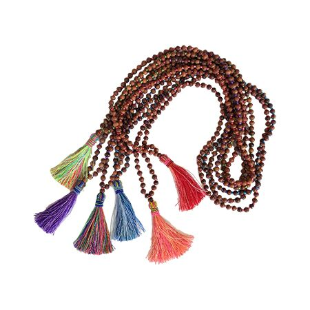 Multicolored Beaded Wooden Tassel Necklaces