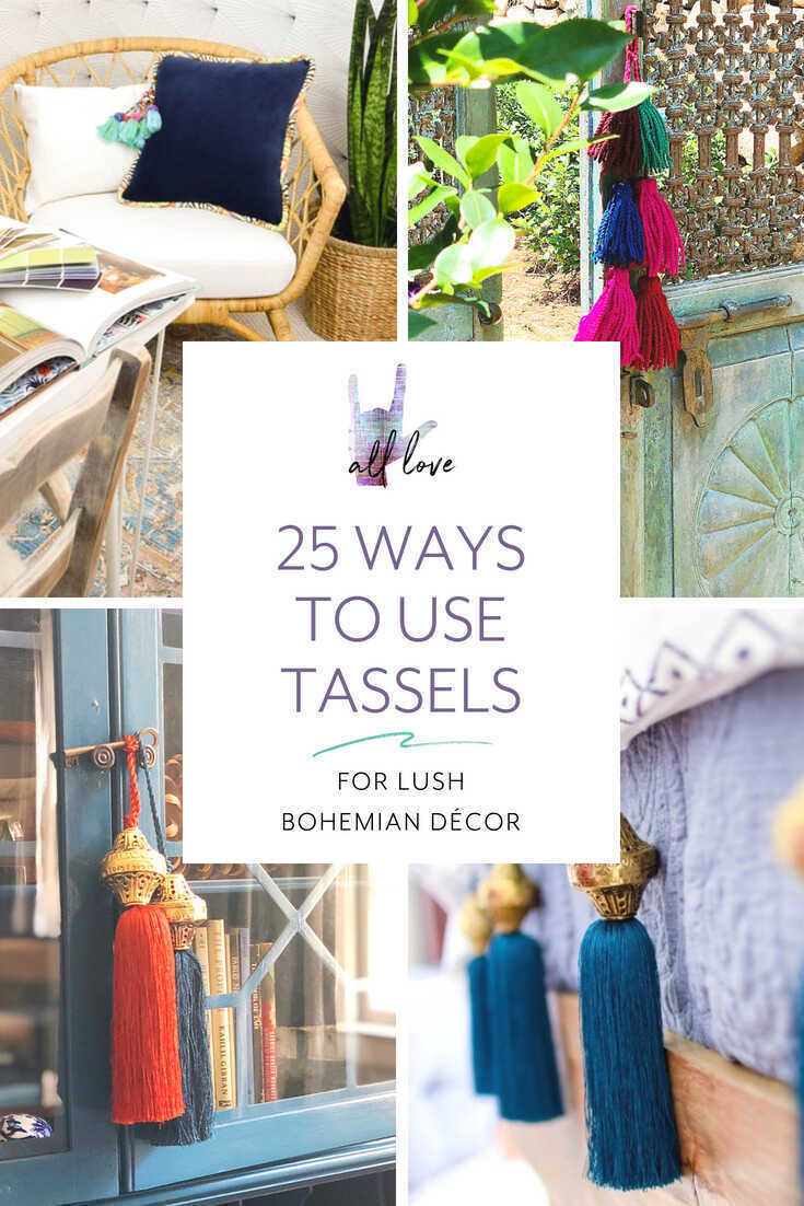 Decorative tassels are a must for any bohemian interior. They add color and texture. Here's how to incorporate tassels into home decor from Boho Luxe Home!