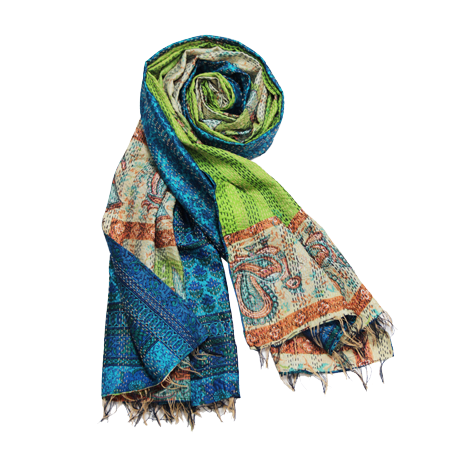 Kantha Scarf - Blue & Green