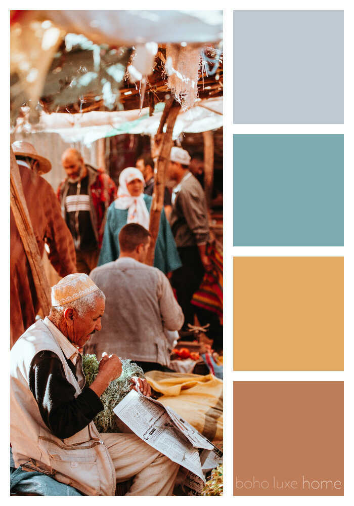 During our recent travels, Morocco's landscapes, fabrics, architecture and people inspired us to create some color palettes of our own. Each of these 38 photos from Morocco tells a travel story - and has inspired its own unique color palette. Use these color ways to start planning your wall colors, your decor, your outfit or any color scheme.