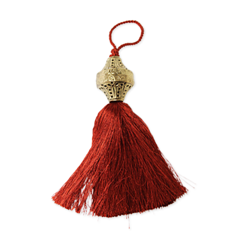 Brass Top Silk Tassel - Henna