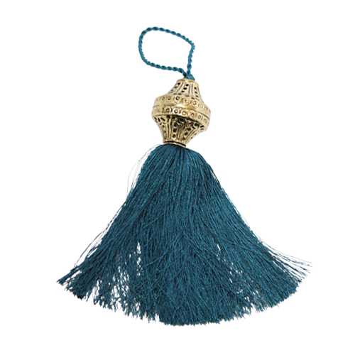 Brass Top Silk Tassel - Peacock