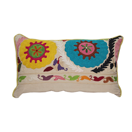 Large Crewel Embroidery Pillow