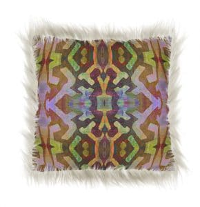 faux fur pillow with african print