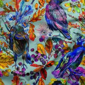 colorful bird fabric by the yard