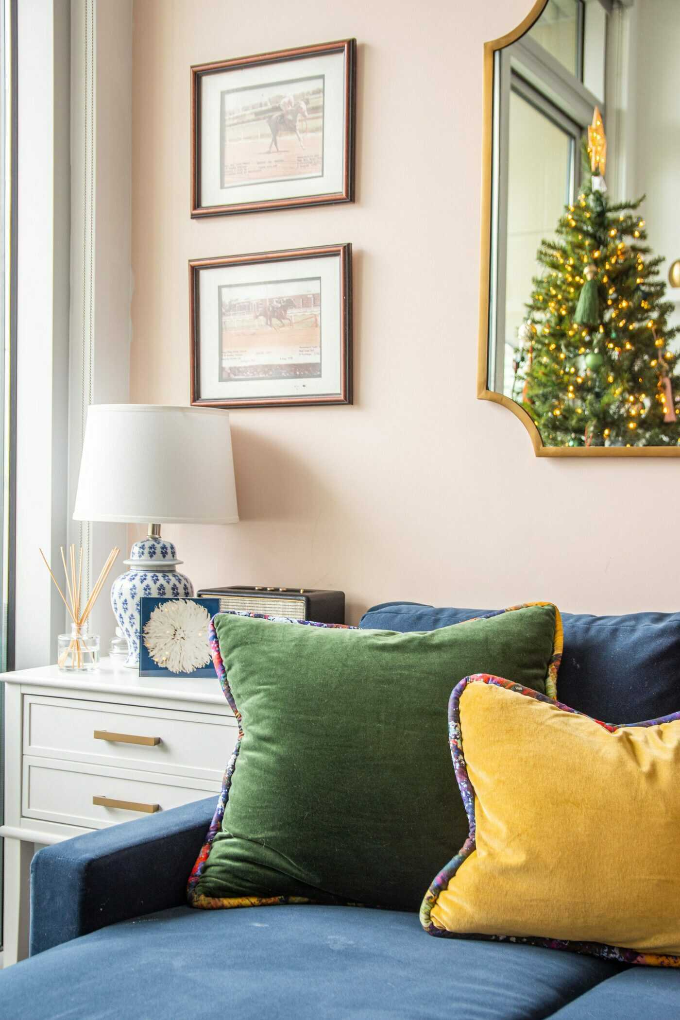 For his cousin's holiday decor, interior designer Kevin O'Gara mixes his traditional southern style with SmithHönig's bold playfulness through texture, tassels and jewel tones.