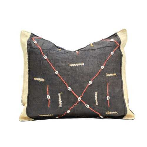 Kuba Cloth Pillow - Charcoal