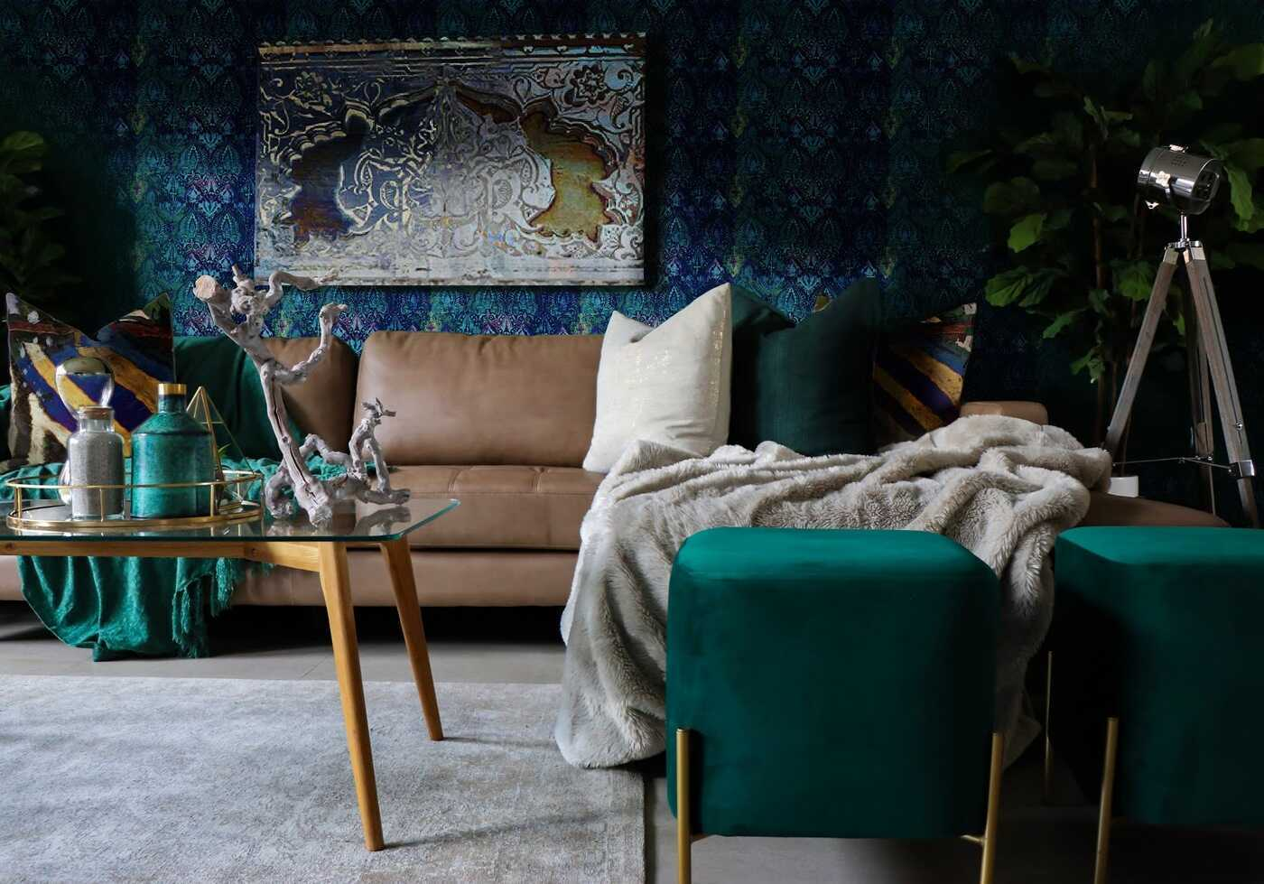 Rooms rich in jewel-tones are topping this season's interior styling. See how to warm up your space with SmithHönig's Neela Blue wallpaper.