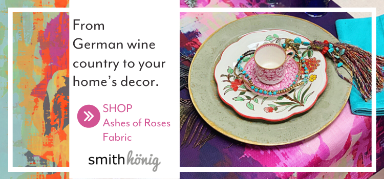 From German wine country to your home's decor, SmithHönig's Ashes of Roses pattern is steeped in tradition and abstraction. Read SmithHönig co-owner Melanie's roots story.