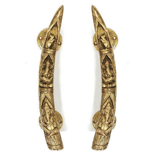 Large Brass Elephant Tusk Handles - Set/2