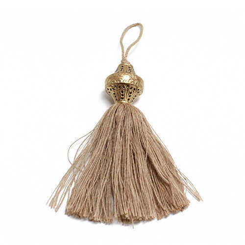 Brass Top Silk Tassel - Jute