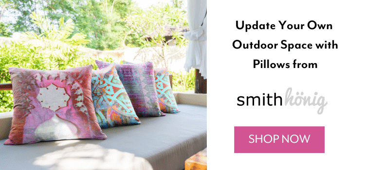SmithHönig Co-Founders Kellie and Melanie invite you to step into their own, very different and very personal outdoor sanctuaries. Cozy seating, plants passed down for generations and colorful accents are the centerpiece of backyard living rooms. Liven up your outdoor spaces with SmithHönig's line of weather resistant outdoor pillows.