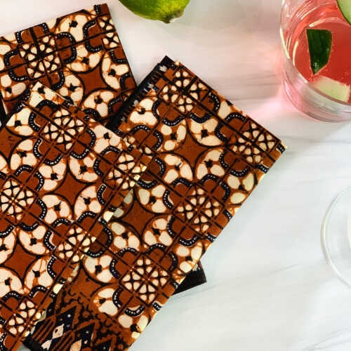 Vintage Batik Napkins - Brown/Black - Set/6