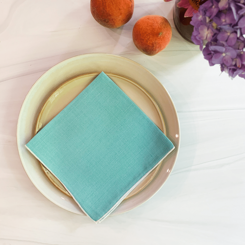 Vintage Linen Napkins - Robins Egg Blue - Set/4
