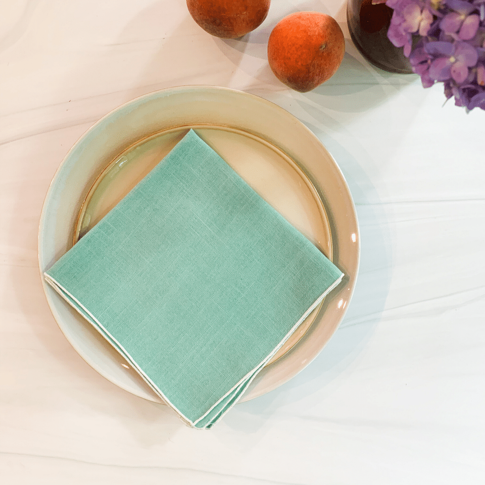 Vintage Linen Napkins - Light Teal - Set/4