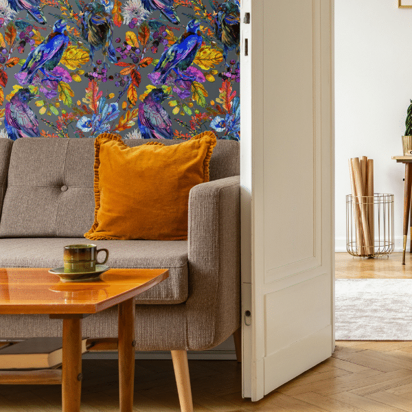 Ravenswood Bird Peel and Stick Wallpaper is our most popular wallpaper ever. After seeing the watercolor ravens and vibrant foliage, you will see why!