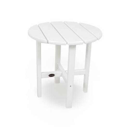 """Round 18"""" Outdoor Side Table - White"""