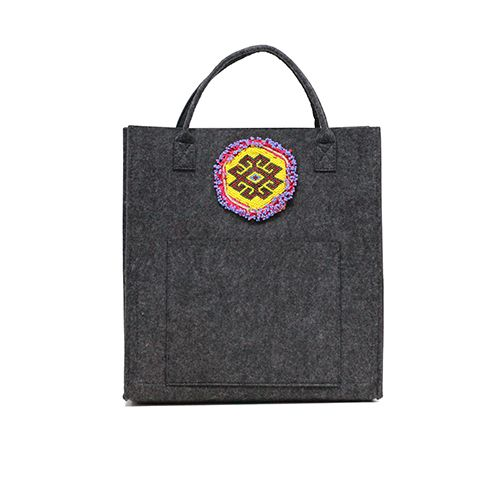 Tote with Vintage Beaded Medallion