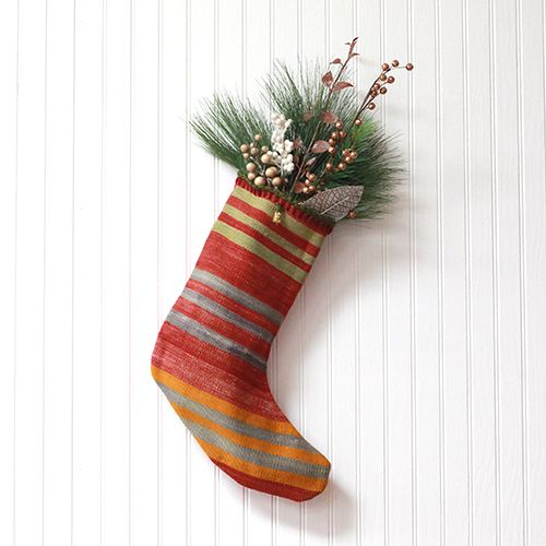 Dark Green Crochet Stripe Stocking