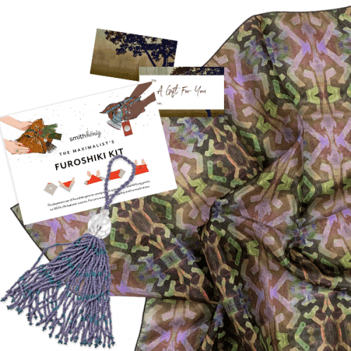 Our furoshiki kits feature luxurious 100% silk habotai scarves—in our exclusive fabric patterns—that are paired with a coordinating glass-beaded tassel and a set of gift tags, ready for gifting and more.