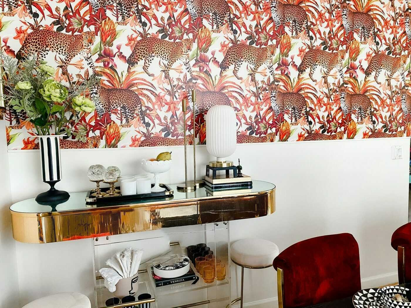 Play with color and pattern in your living and dining rooms with peel and stick wallpaper - unique designs and a removable wallpaper solution.