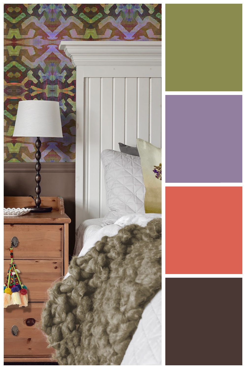 Use these color palettes, inspired by peel and stick wallpaper, to spark your creativity in your home decor. #peelandstickwallpaper #colorpalettes