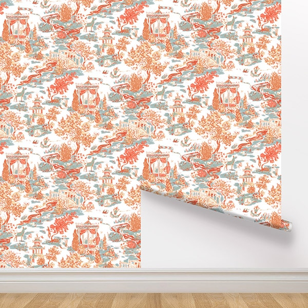 Peel and Stick Wallpaper - Summer House / Coral
