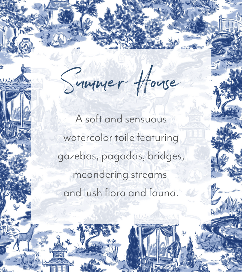 Discover SmithHonig's newest wallpaper pattern, Summer House. It's a toile wallpaper with a classic/modern twist. Available in 2 colorways!