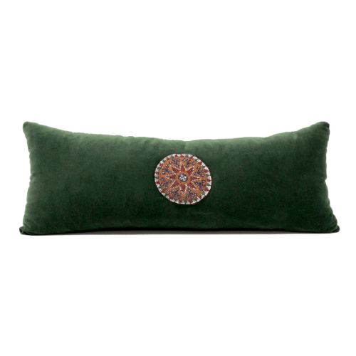 Velvet Green Pillow with Beaded Patch