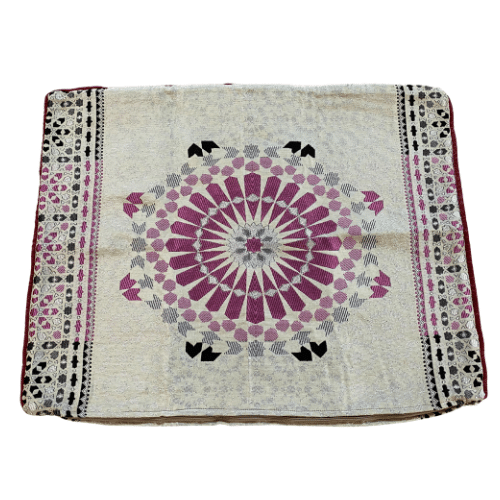 Jacquard Pillow Sham - Ivory, Silver, and Pink
