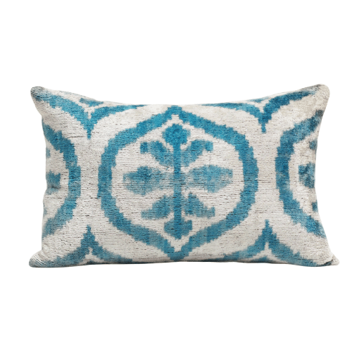Blue and White Ikat Pillow
